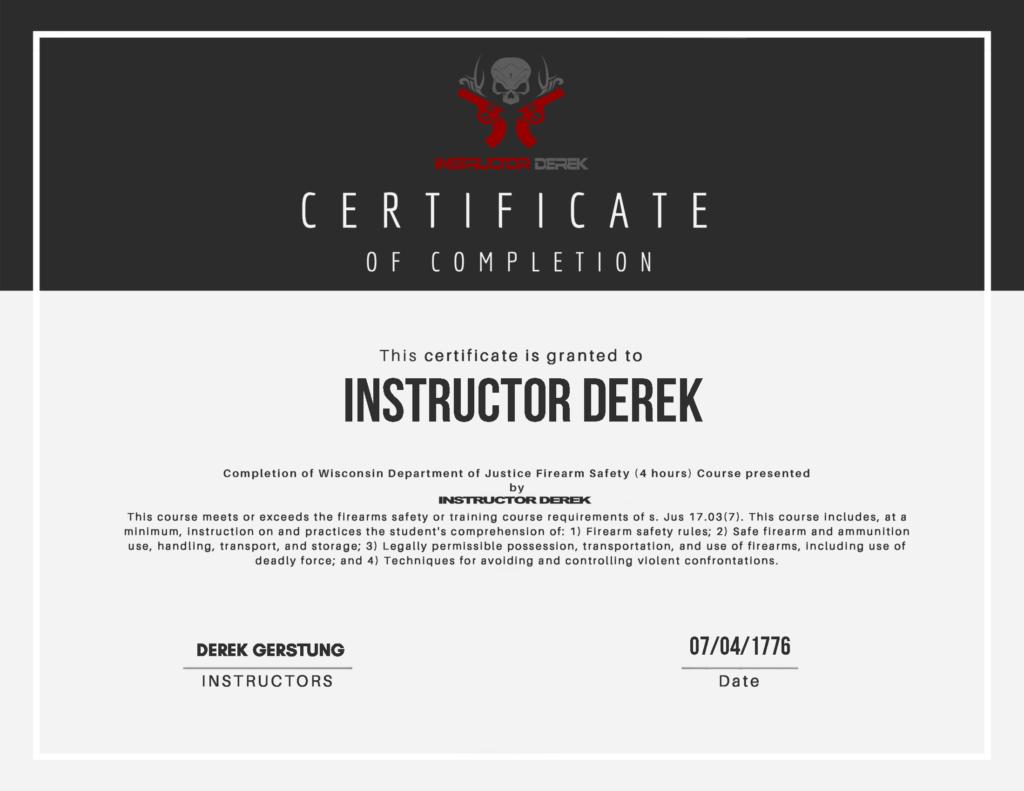 Instructor Derek Certificate